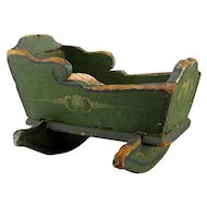 Primitive Doll Baby Cradle 19thC Antique Apple Green Paint