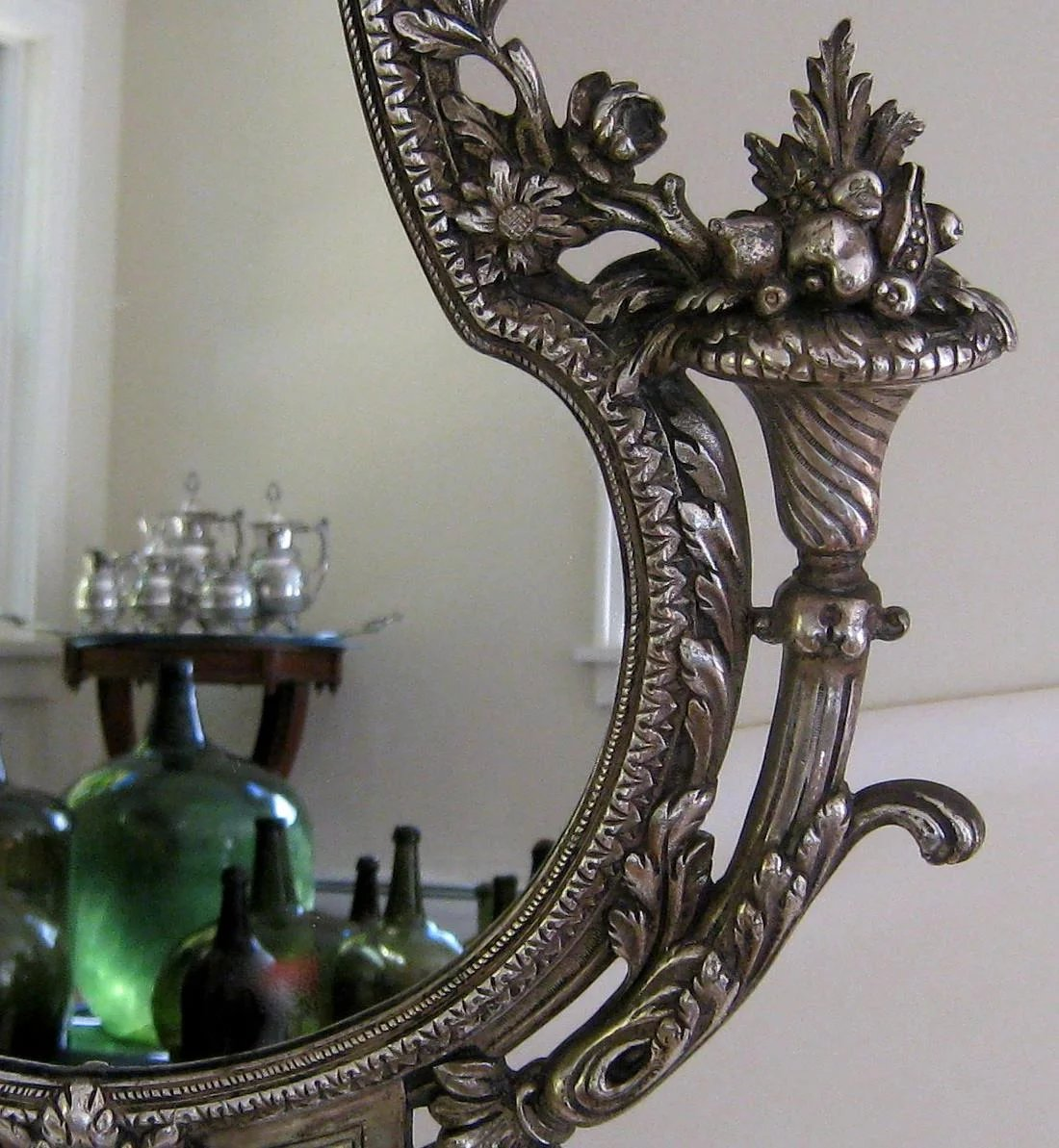 Silvered Bronze Vanity Table Mirror C1880 Antique French
