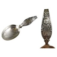 Sterling Silver Baby Spoon c1900 Antique P & B Curved Handle Nursery Rhyme