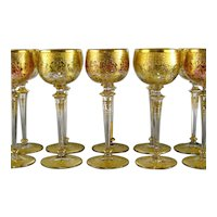 Set 10 Bohemian Gilded Wine Glasses c1910 Raised Gold Cranberry Green Glass Goblet