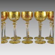 Set 10 Bohemian Gilded Wine Glasses c1910 Raised Gold Cranberry Green Glass Goblet