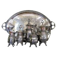 Victorian Aesthetic Silver Plate Tea Set & Tray c.1878 Antique Meridan B. 6pc Coffee Service