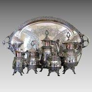 Victorian Aesthetic Silver Plate Tea Set & Tray c.1878 Antique Meridan B. 6pc Coffee Service