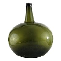 Large Kidney Shape Demijohn Bottle c.1830 Antique Blown Pontil