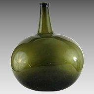 Large Kidney Shape Demijohn Bottle c.1830 Antique Blown Pontil