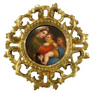 Miniature Painting on Porcelain after Raphael c1900 Antique Madonna della Seggiola
