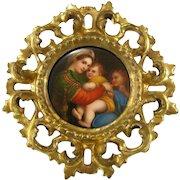 Miniature Painting on Porcelain after Raphael c1900 Antique Madonna della Seggiola