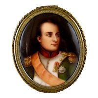 Napoleon Portrait Miniature on Porcelain c1900 Bronze Trinket Box Hutschenreuther