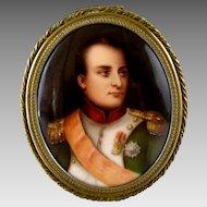 Napoleon Portrait Miniature on Porcelain c1900 Bronze Trinket Box Hutschenreuther