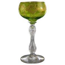 Gilt & Engraved Hollow Stem Wine Goblet Antique Green Glass