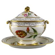 Porcelain Sauce Tureen with Attached Underplate 19th C Hand Painted Flowers Dresden Style
