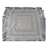 Lawn & French Valenciennes Lace Pillow Sham c1890 Appenzell type Embroidery Monogram Antique Linen