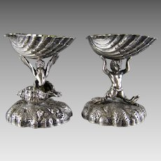 2 Russian Silver Sea Creature Salt Cellar c1900 Shell Antique Marine Dish
