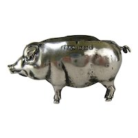 Sterling Silver Pig Pin Cushion c.1906 Antique English Figural Sewing Pincushion