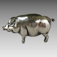 Sterling Silver Pig Pin Cushion c.1906 Antique English Figural Sewing Pincushion