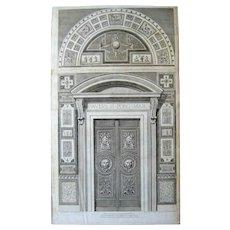 Doorway to the Raphael Loggia Vatican c.1772-77 aft Camporesi Savorelli Antique Engraving