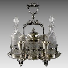 English Victorian Silver Plate Decanter Stand c.1870 Antique Biscuit Box Dessert Wine Glasses