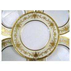 12 Minton Dinner Plates Raised Gold Vintage Porcelain White/Ivory/Gold