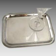 Christofle Silver Plate Cocktail Tray Vintage French Beaded Edge