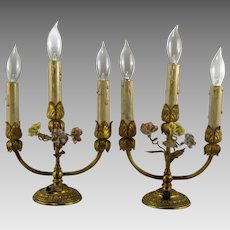 Pair French 3 Candle Lamps Vintage Porcelain Flowers