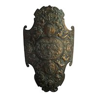 Renaissance Parade Shield c1900 Antique Medieval Style Bronzed Armor Plaque