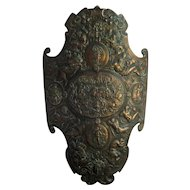 Cast Iron Renaissance Style Shield c1900 Antique Medieval Bronzed Armor Plaque