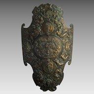 Cast Iron Renaissance Style Shield c1900 Antique Medieval Bronzed Armor Plaque