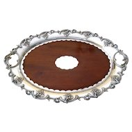 English Edwardian Mahogany Footed Tray c.1896 Silver Plate Mounts Antique Serving