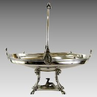 Aesthetic Silver Plate Cake Basket c.1869 Reed Barton Medallion Hound Dog Silverplate Card Tray