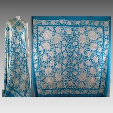 Embroidered Silk Piano Shawl c.1910 Antique Chinese Manton Vintage Scarf