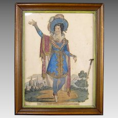 19th C Theatrical Tinsel Print Antique Embellished English Art