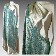 Art Deco Silk Lame Shawl c.1920s Teal Green and Metallic Silver Vintage Wrap