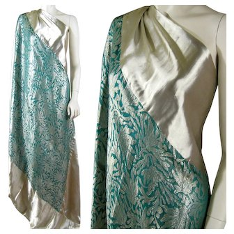 Art Deco Silk Lame Shawl c.1920s Teal Green and Metallic Silver Vintage Wrap