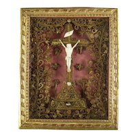 French Paperolle Reliquary 18th C Antique Gilded Quilling Reliquaire