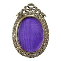 Miniature French Paste Jeweled Picture Frame c.1915 Antique Silvered Bronze Rhinestone Bow Top