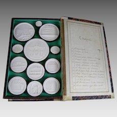 Grand Tour Intaglio c.1830 Liberotti Impronte 'Edifizi' Plaster Souvenir Cameo Medallion Intaglios