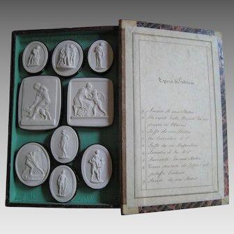 Grand Tour Intaglio c.1830 Liberotti Impronte 'Opere di Gibson' Plaster Souvenir Cameo Medallion Intaglios