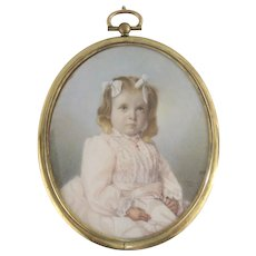 American Miniature Portrait c.1905 signed C.P. Newell Young Girl Antique Gold Locket Style Frame
