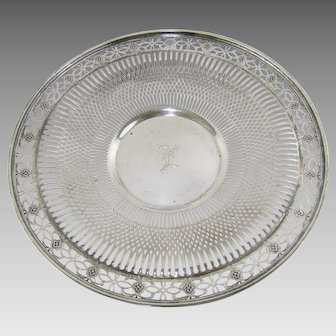 Sterling Silver Reticulated Serving Plate Vintage Sandwich Cake Tray Whiting