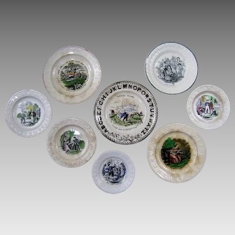 Collection of Child's ABC Plates Antique Staffordshire Transferware 8pcs