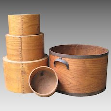 Daniel Cragin Bentwood Dry Measures c.1900 Set of Five Antique Pantry Box Nested Grain Measure