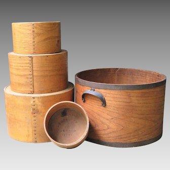 Daniel Cragin Bentwood Dry Measures c.1900 Set of Five Antique Pantry Box Nested Grain Measure