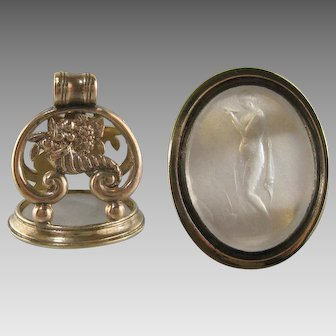 Large Watch Fob Seal Gold Cased Antique Nude Woman Intaglio Pendant