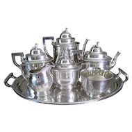 7pc Rogers & Wendt Coin Silver Tea Set c.1850 plus Tray Greyhound Dog Finials