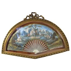 18thC Hand Painted French Fan Antique Bow Top Box Frame