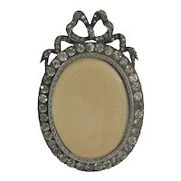French Paste Bow Top Picture Frame Vintage Jeweled Locket Back