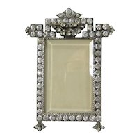 French Paste Picture Frame Vintage Art Deco Jeweled Locket Back