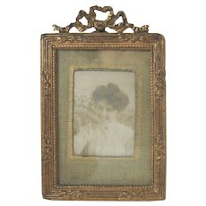 Gilt Bow Top Miniature Picture Frame c1900 Original Mat