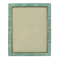 Austrian Bronze Picture Frame c1930 Peking Glass Vintage Deco Jeweled