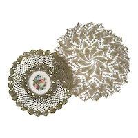 3 Metallic Lace Petit Point Doily c1920 Metal Lace Trim Doilies